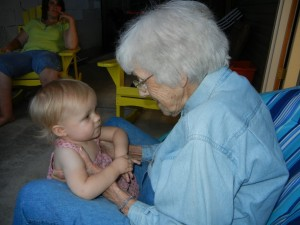 Summer 2011--Maggie with Great Grandmother