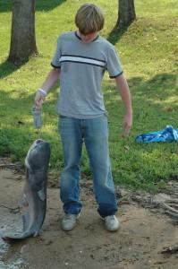 Kyle Smith with 33 lb catfish, Watts Barr Lake, July 2006