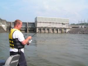 Jeremy with Striper, Melton Hill Dam, July 2005
